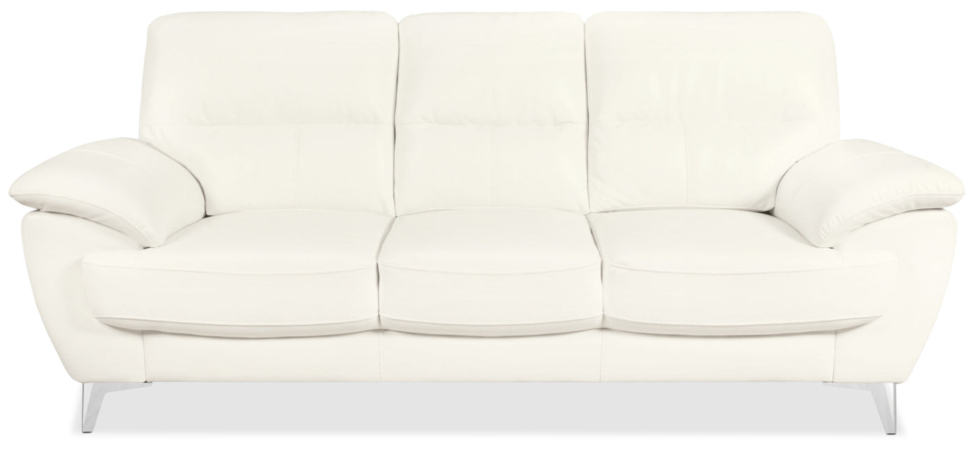 Olivia Leather-Look Fabric Sofa – Snow