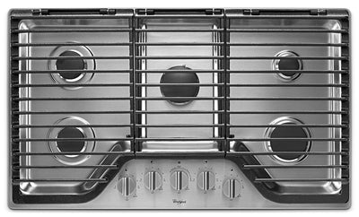 "Whirlpool 36"" 5-Burner Gas Cooktop with EZ-2-Lift™ Hinged Cast-Iron Grates - WCG97US6HS