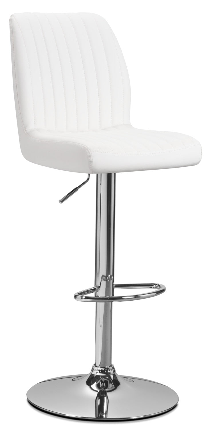 Monarch Adjustable Bar Stool – White - Modern style Bar Stool in White Metal and Faux Leather