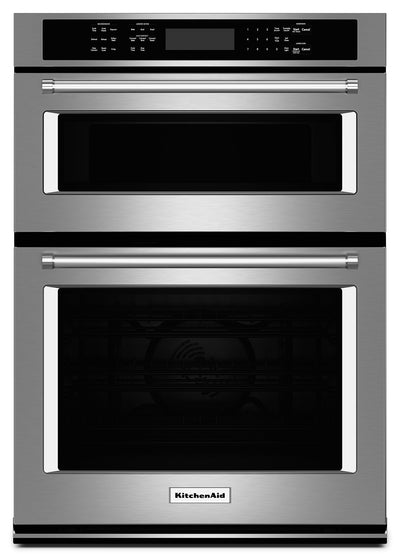 "KitchenAid 27"" Combination Wall Oven with Even-Heat™ True Convection - KOCE507ESS