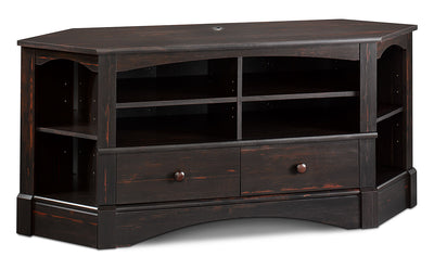 "Harbor View 61"" Corner TV Stand - Country style TV Stand in Dark Brown Wood"