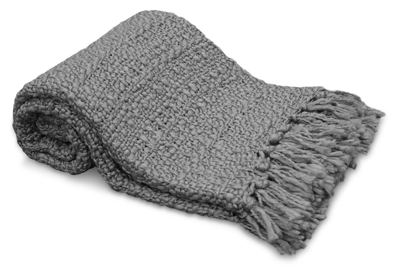 Knit Throw with Fringe – Grey - Grey Throw Blanket