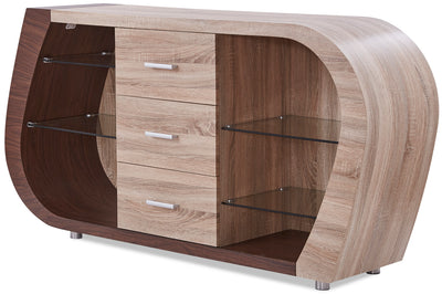 Lux Server - Glam style Server in Oak & Walnut Medium Density Fibreboard (MDF)