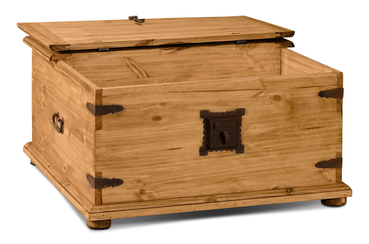- Santa Fe Rusticos Solid Pine Trunk-Style Coffee Table With Storage