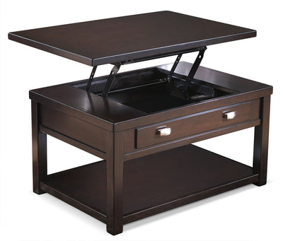 Hatsuko Coffee Table with Lift-Top - Contemporary style Coffee Table in Dark Brown Hardwood Solids