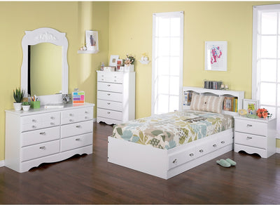 Diamond Dreams 5-Piece Twin Matesbed Package - Traditional style Bedroom Package in White