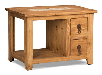 Santa Fe Rusticos Solid Pine End Table with Marble Inset|Table de bout Santa Fe Rusticos en pin massif avec incrustations de marbre|LAT23M
