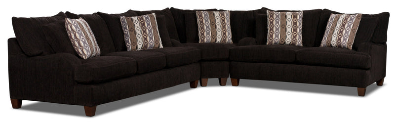 Putty Chenille 3-Piece Sectional - Chocolate|Sofa sectionnel Putty en chenille - chocolat
