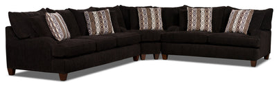 Putty Chenille Studio-Size 3-Piece Sectional – Chocolate - Contemporary style Sectional in Chocolate