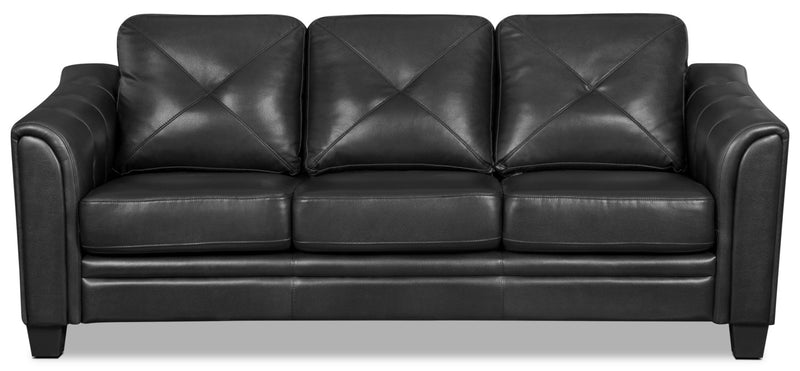 Andi Leather-Look Fabric Sofa – Black|Sofa Andi en tissu d'apparence cuir - noir