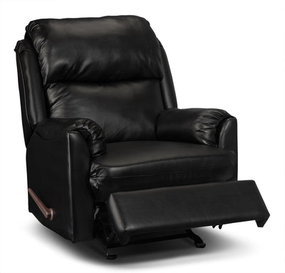 Drogba Faux Leather Recliner - Black - Contemporary style Chair in Black