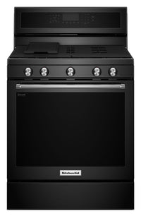 KitchenAid 5.8 Cu. Ft. Five-Burner Gas Convection Range- Black
