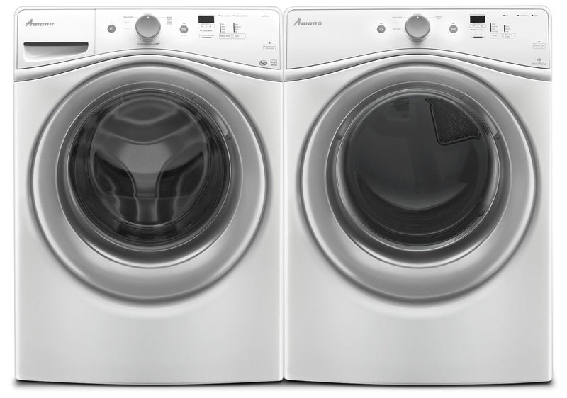 Amana 4.8 Cu. Ft. Front Load Washer and 7.4 Cu. Ft. Electric Dryer - White|Laveuse à chargement frontal de 4,8 pi3 et sécheuse électrique de 7,4 pi3 de Amana - blanches
