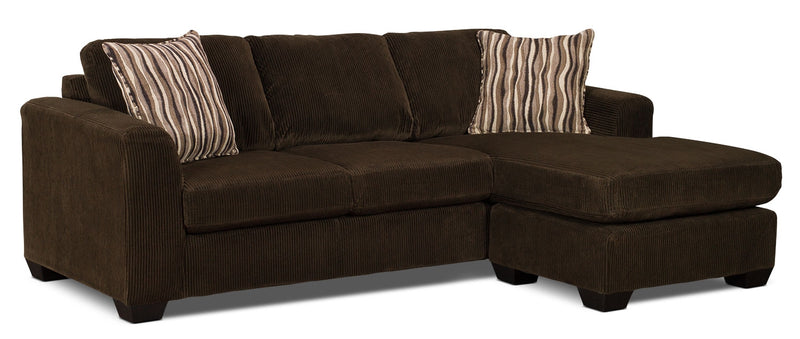 Nina 2-Piece Corded Microsuede Sectional with Chaise – Chocolate|Sofa sectionnel Nina 2 pièces en microsuède avec pouf - brun