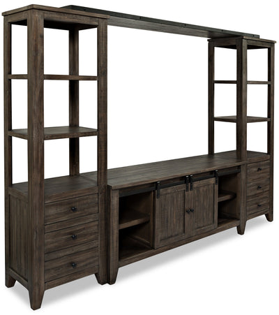 "Madison Barn-Door 4-Piece Entertainment Centre with 60"" TV Opening - Brown"