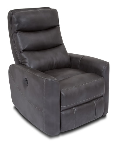 Quinn Leather-Look Fabric Power Recliner with Adjustable Headrest - Grey - Modern style Chair in Grey