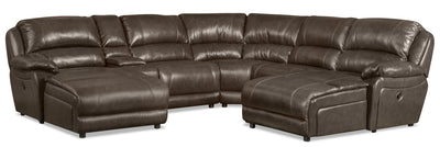 Marco 6-Piece Genuine Leather Sectional with 2 Inclining Chaises - Grey
