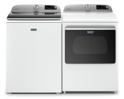 Maytag 5.4 Cu. Ft. Smart Top-Load Washer and 7.4 Cu. Ft. Smart Gas Dryer - White|Laveuse à chargement par le haut de 5,4 pi3 et sécheuse à gaz de 7,4 pi3 de Maytag - blanches|MATL623G
