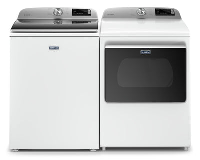 Maytag 5.4 Cu. Ft. Smart Top-Load Washer and 7.4 Cu. Ft. Smart Electric Dryer - White