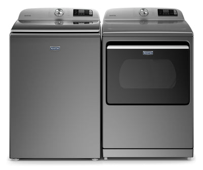 Maytag 6.0 Cu. Ft. Smart Washer and 7.4 Cu. Ft. Smart Gas Dryer - Metallic Slate|Laveuse intelligente 6,0 pi³ et sécheuse à gaz intelligente 7,4 pi³ de Maytag–ardoise métallique|MATL723G