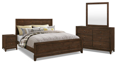 Tacoma 6-Piece King Bedroom Package - Rustic style Bedroom Package in Dark Brown Pine Solids and Veneers