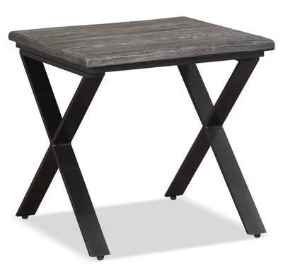 Astana End Table - Industrial style End Table in Grey Metal and Wood