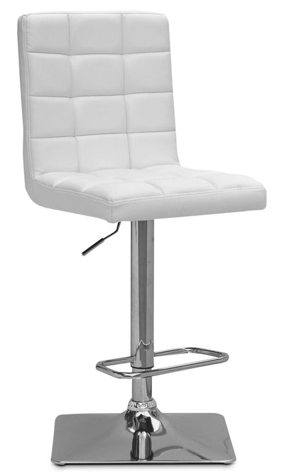 Axel High-Back Adjustable Bar Stool – White|Tabouret bar réglable Axel à dossier haut - blanc|AXELWTBS