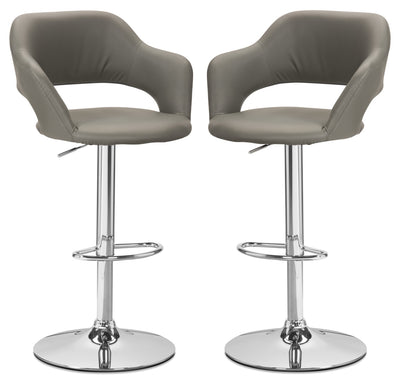 Monarch Hydraulic Contemporary Bar Stool, Set of 2 – Grey|Tabouret hydraulique contemporain Monarch, ensemble de 2 - gris|I2364GBP