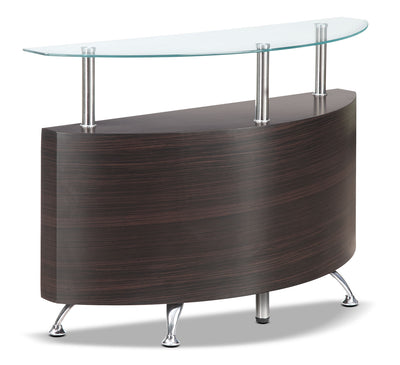 Seradala Sofa Table - Contemporary style Sofa Table in Cappuccino Glass and Wood