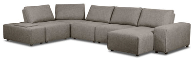 Modera 7-Piece Linen-Look Fabric Modular Sectional with 1 Console - Grey - {Modern} style Sectional in Grey {Pine}, {Plywood}