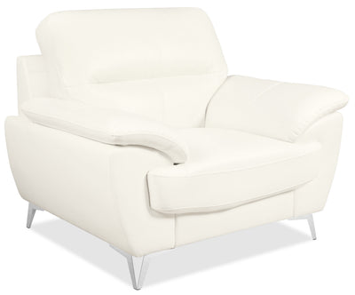 Olivia Leather-Look Fabric Chair – Snow - Modern style Chair in Snow