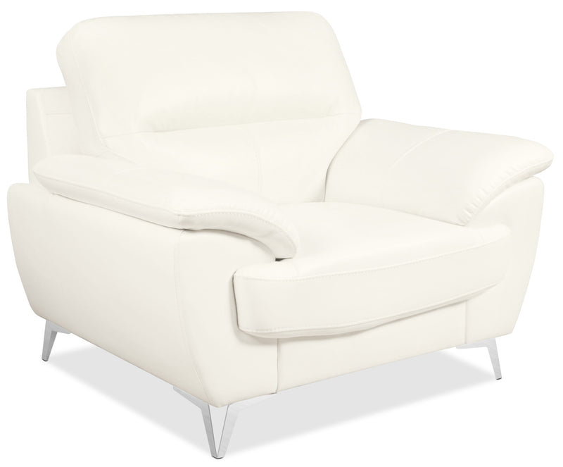 Olivia Leather-Look Fabric Chair – Snow|Fauteuil Olivia en tissu d'apparence cuir - neige