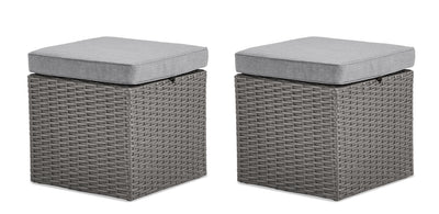 Morris Small Patio Ottoman, Set of 2|Petit pouf Morris pour la terrasse, ensemble de 2|MORRGOT2