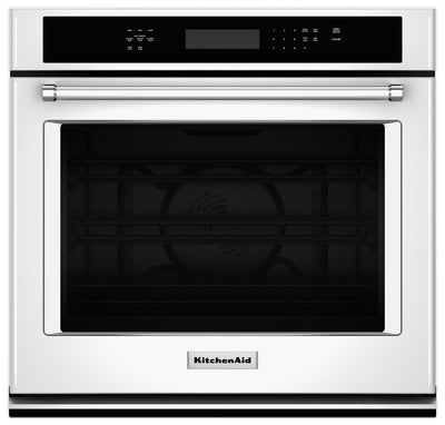 KitchenAid 4.3 Cu. Ft. Single Wall Oven with Even-Heat™ True Convection - White - Electric Wall Oven with Child Lock in White