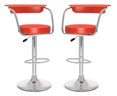 CorLiving Open-Back Adjustable Bar Stool, Set of 2 – Red|Tabouret bar réglable CorLiving à dossier ouvert, ensemble de 2 - rouge|COR751BP