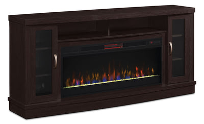 "Hutchinson 70"" Stand with Glass Ember, Log or Rock Firebox - Modern style TV Stand with Fireplace in Espresso Wood"