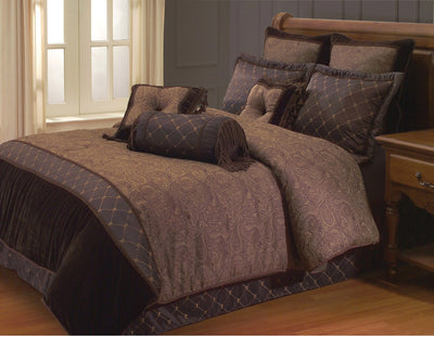 Opulent Paisley 9-Piece Queen Comforter Set – Brown - Chocolate Comforter Set