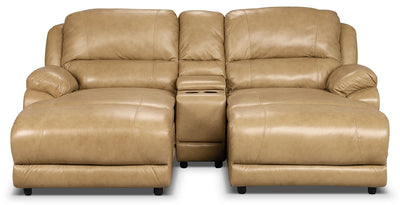 Marco Genuine Leather 3-Piece Sectional with Console– Toffee - Contemporary style Sectional in Toffee