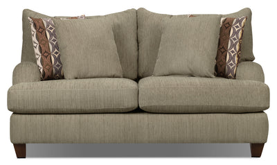 Putty Chenille Studio-Size Loveseat – Beige - Contemporary style Loveseat in Beige Chenille