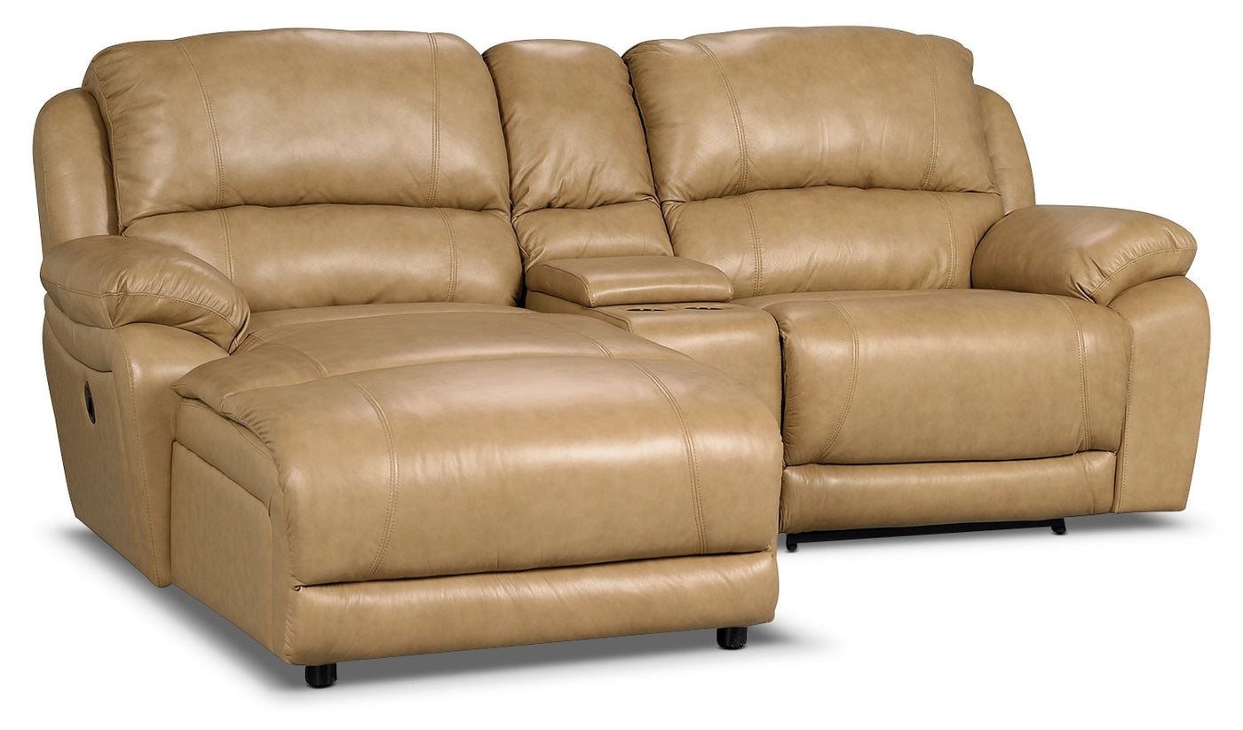Marco Genuine Leather 3-Piece Sectional with Chaise, Power Recliner and  Console– Toffee