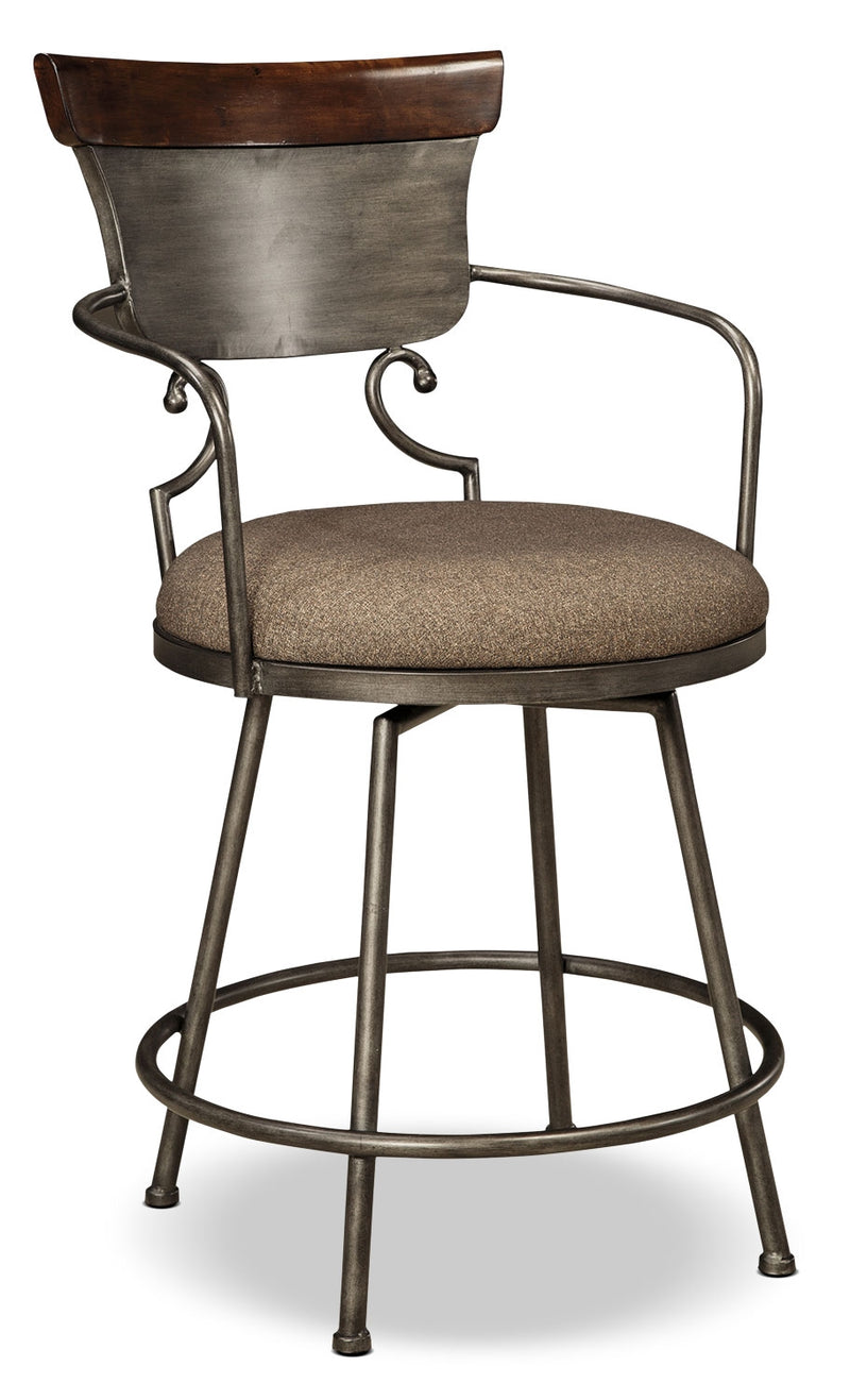 Moriann Metal Counter-Height Stool - Dark Brown - Traditional style Bar Stool in Dark Brown