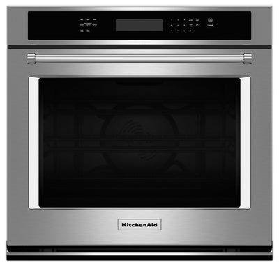KitchenAid 4.3 Cu. Ft. Single Wall Oven with Even-Heat™ True Convection - Stainless Steel|Four mural simple KitchenAid de 4,3 pi³ à convection véritable Even-Heat(MC) - acier inoxydable|KOSE507S