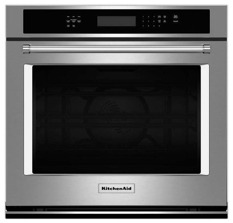 KitchenAid 4.3 Cu. Ft. Single Wall Oven with Even-Heat™ True Convection - Stainless Steel|Four mural simple KitchenAid de 4,3 pi³ à convection véritable Even-Heat(MC) - acier inoxydable