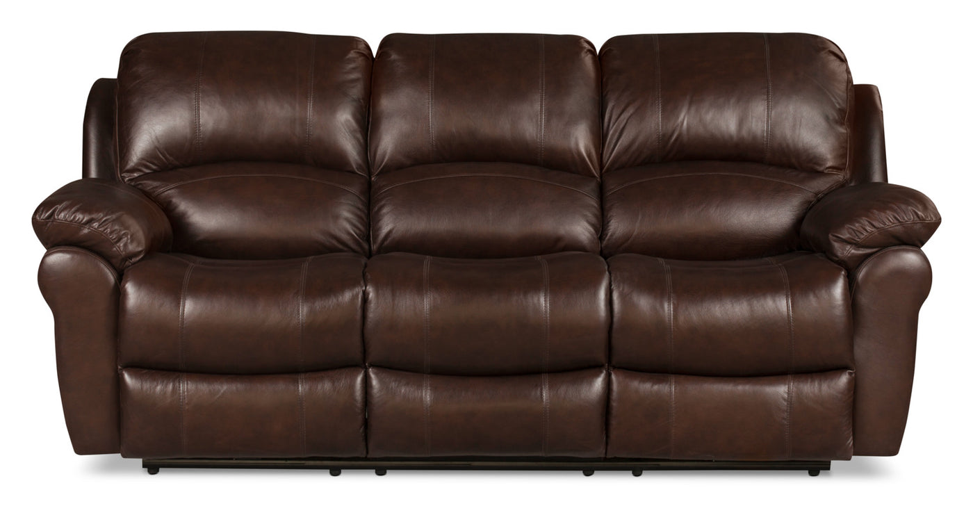Kobe Genuine Leather Reclining Sofa – Brown | The Brick
