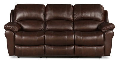 Kobe Genuine Leather Reclining Sofa - Brown - Contemporary style Sofa in Brown