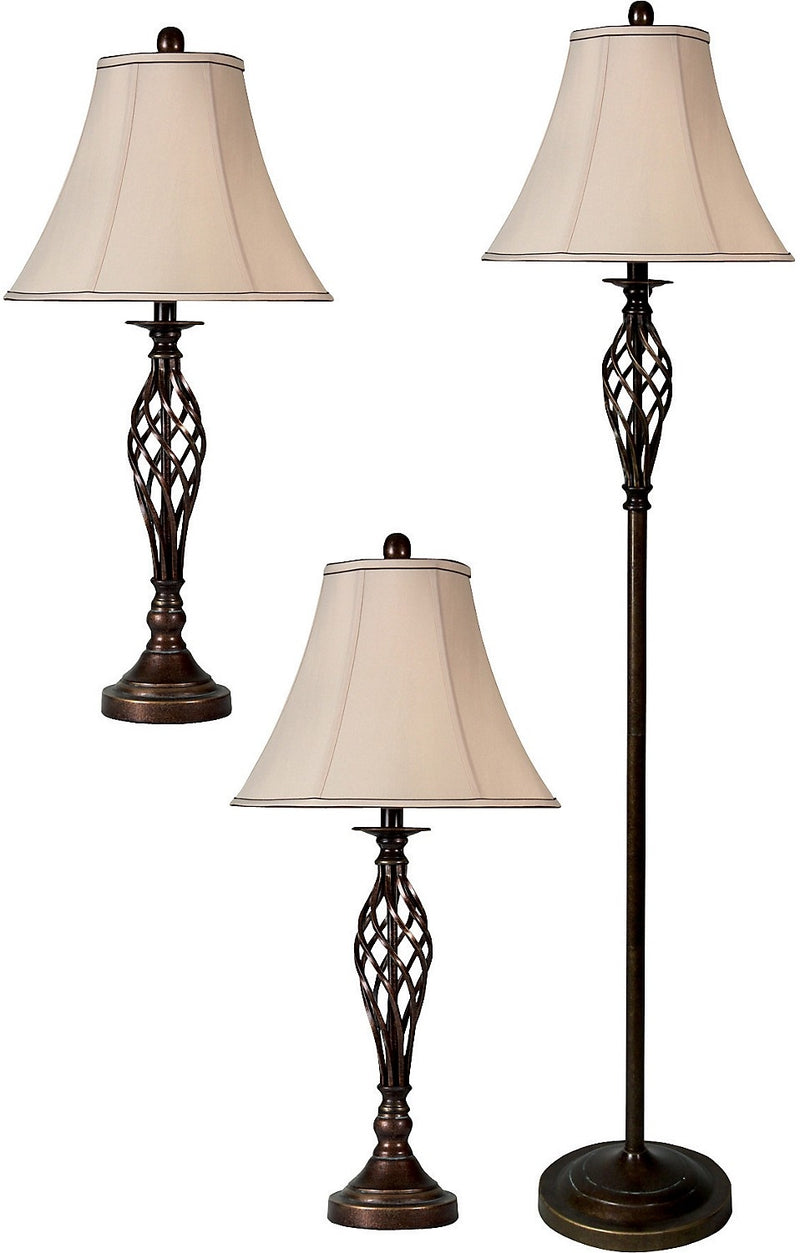 Dark Brass-Cage 3-Piece Floor and Two Table Lamps Set|Ensemble 3 pièces, 1 lampe à pied et 2 lampes de table, en laiton foncé de style cage