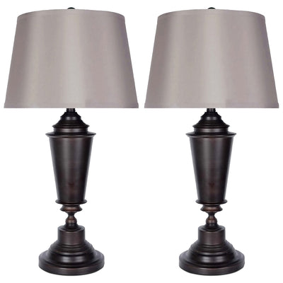 Oil-Rubbed Bronze 2-Piece Table Lamps Set with Silk Shade|Ensemble 2 lampes de table en bronze huilé|ST90789A
