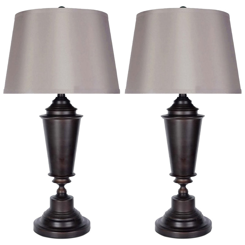 Oil-Rubbed Bronze 2-Piece Table Lamps Set with Silk Shade|Ensemble 2 lampes de table en bronze huilé