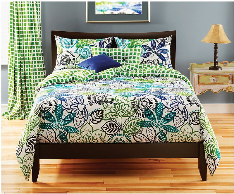 Bali Reversible 4 Piece Full Duvet Cover Set - Green Duvet Set