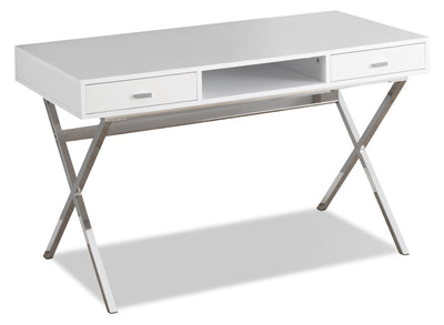 Catonia Computer Desk – Glossy White - Modern style Desk in White Metal